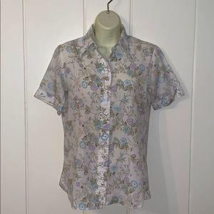 Vtg late 70s floral short sleeved shirt